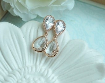 Rose Gold Wedding Pear Glass Earrings, Rose Gold Post Wedding Earrings, Bridal Bridesmaid Gift. Rose Gold Cubic Zirconia Ear Post Earrings,