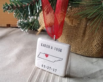 Personalized Tennessee Christmas Ornament - Holiday Gift - Wedding Gift For the Couple
