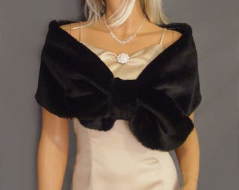 Faux Fur wrap stole pull thru shrug In Beaver bridal shawl prom capelet evening ball cover up FW300 AVL in black and 4 other colors