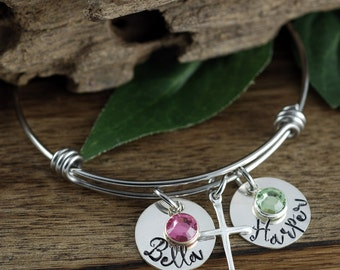 Sterling Silver Cross Bracelet, Personalized Mom Bracelet, Kids Name bracelet, GIft for Mom, Mothers Bracelet, Mothers Day Gift