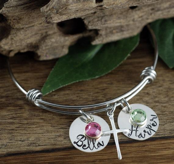 Sterling Silver Cross Bracelet, Personalized Mom Bracelet, Kids Name bracelet, GIft for Mom, Mothers Bracelet, Mothers Day Gift