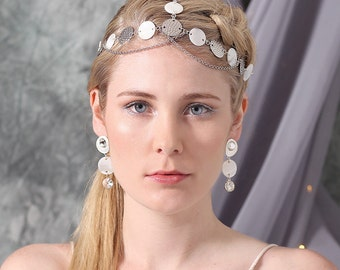 Talisa Bridal Headpiece, Bohemian Headpiece, Bridal Hair Chain, Wedding Headpiece, Shell Headpiece Head Chain, Bridal Hair Accessory