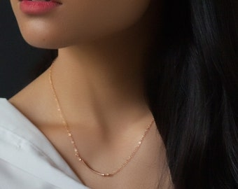 Rose Gold Curved Bar necklace - delicate rose gold fill layering necklace