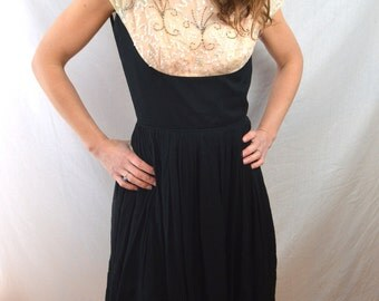 Vintage 1950s 50s Sequin Beaded Elinor Gay Original Chiffon Party Dress