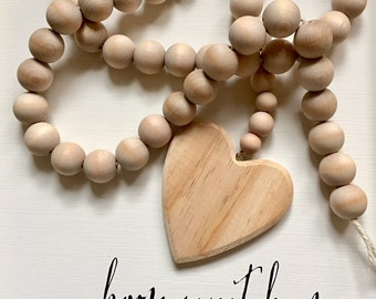 RESERVED FOR EVELINEJ Natural Decorative Wooden Bead Garland with Heart  Farmhouse and Beach Cottage Home Decor