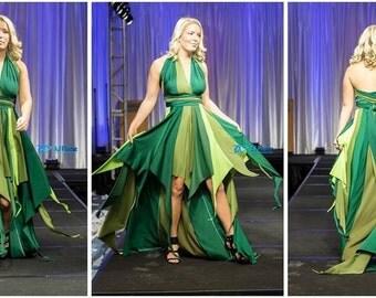 Pixie dress in greens, fairy dress, one of a kind, OOAK, forest pixie, green fairy, flutter dress, prom dress, pageant dress, high-low dress