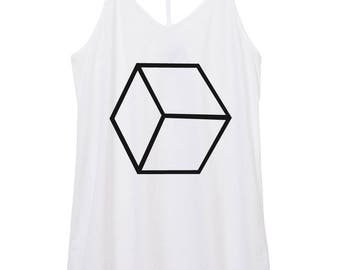 womens skinny strap satin cottone cube tank top, gemoetric tank top, shape shirt, honeycomb,  tank top