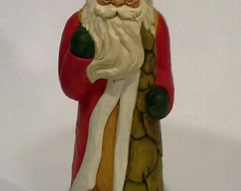 hand carved Santa with Animals, Christmas,hand made,woodcarving,Susan L Hendrix,handpainted,carving sale,from Santa Claus,Christmastree land
