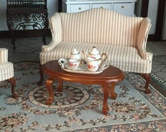 Miniature Oval Coffee Table, Walnut Wood Table, Style 48, Dollhouse Miniature, 1:12 Scale, Dollhouse Furniture, Miniature Table
