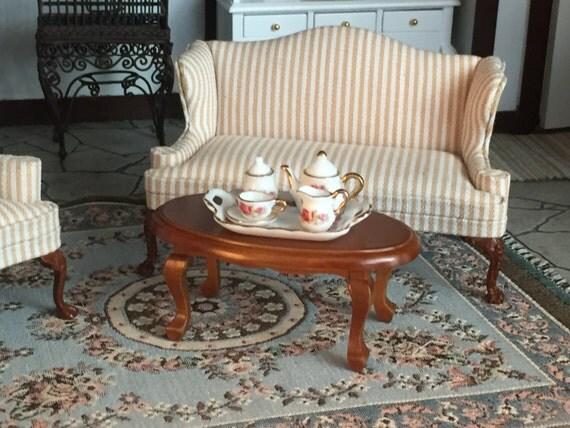 Miniature Oval Coffee Table, Walnut Wood Table, Style 6858, Dollhouse Miniature, 1:12 Scale, Dollhouse Furniture, Miniature Table