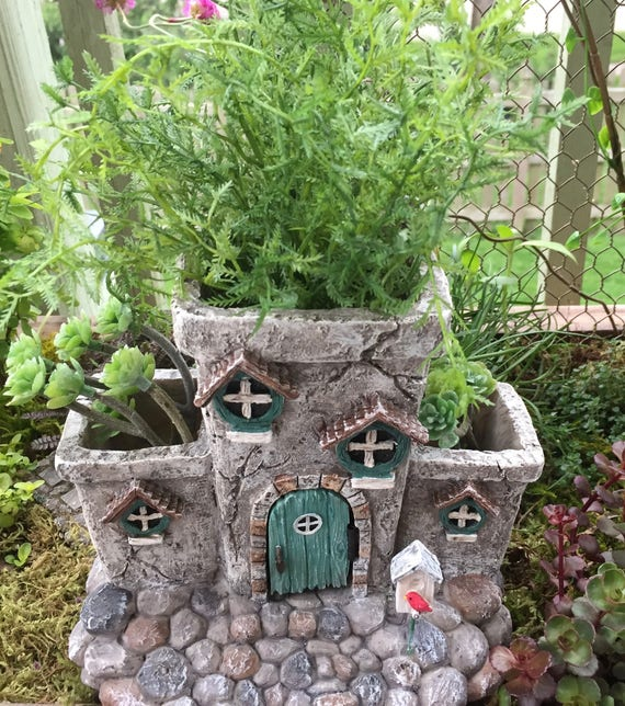 """Fairy House Planter, """"Potter's Place"""" With Hinged Door, Fairy Garden Accessory, Miniature Gardening, Home & Garden Decor"""