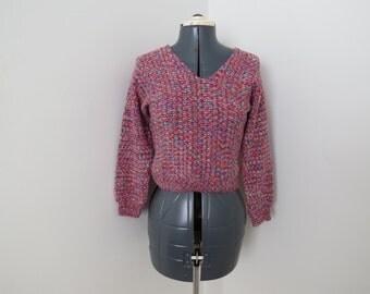 Vintage 1970s Pink Mottled Cropped Sweater - Womens Bust 34 by Ann Fielder