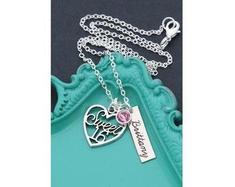 Sweet 16 Birthday Gift 16 Necklace • Birthday Gift Girls Birthday 16th Gift • Sixteenth Birthday Personalized Birthstone Pink