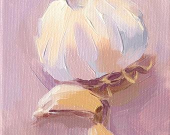 garlic cloves kitchen art oil painting - 5x7 canvas - Garlic sur la Violette