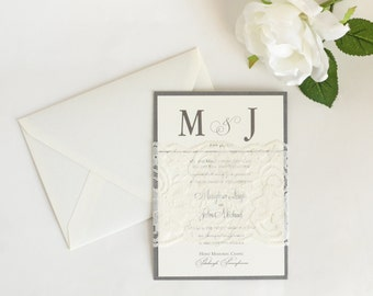 Lace Wedding Invitations, Classic Wedding Invitations, Silver Wedding Invites, Monogram Wedding Invites, The Meaghan Invitation Sample