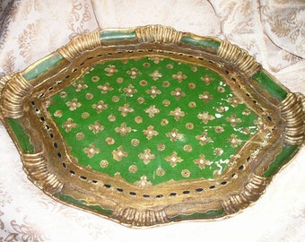 "Vintage 21"" Italian Florentine Carved  Handled gilt Wood Tray Shabby Chic Wonderful Serving Tray."