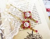Rose of Sharon,1950's French Guilloche Enamel Rose & Vintage Swarovski Pink Rhinestones Altered Assemblage Earrings,Hollywood Hillbi