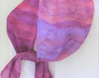 Raspberry hand painted silk scarf maple leaf  design pink purple 8x54