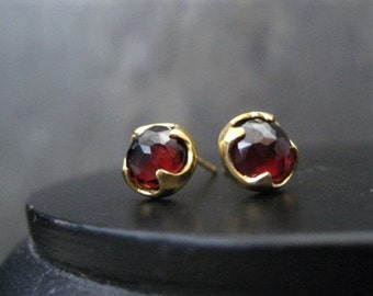 Garnet studs, rose cut studs, dark red posts, gold studs, faceted cabochons, gothic stud, genuine garnet, thorn studs,  bezel set