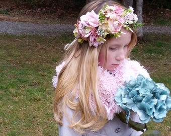 Vintage pink flower headband,ready to ship.maternity sash,flower headband, halo headband,flower girl headband, bridal headband, flower crown