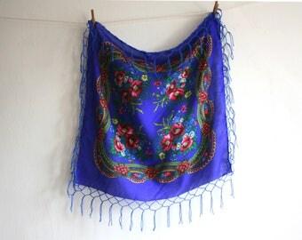 SALE Royal Blue Floral Polish Fringe Scarf
