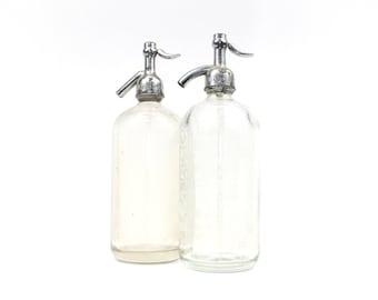 Vintage Clear Seltzer Bottle: Etched Glass