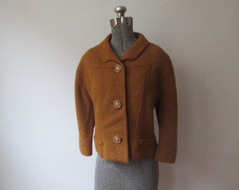 Gorgeous '50s, The Halle Bros. Co. Boykoff Burnt Sienna Wool Chunky Weave, Jacket, Medium