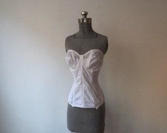 Vintage '60s Goddess Strapless, Embroidered, Boned, Long Line Bra, Bustier, Waist Cincher Shapewear, Garter Belt Loops, 36D