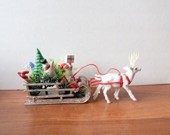 Vintage Christmas Santa Sleigh and Reindeer
