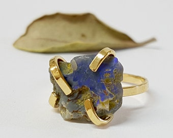 Opal Birthstone Ring, Raw Opal Ring, Unique Gift Idea for Her, Gift for Women, Rough Opal Ring, Gift Ideas for Women, Rough Stone Ring
