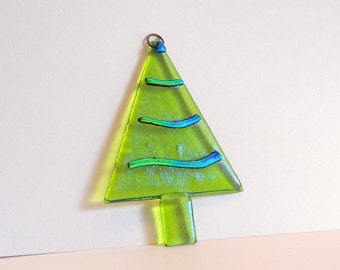 NEW! Lime Green Christmas Tree - Fused Glass Ornament - Green Christmas Tree with Dichroic Accents - Fused Glass Christmas Decoration