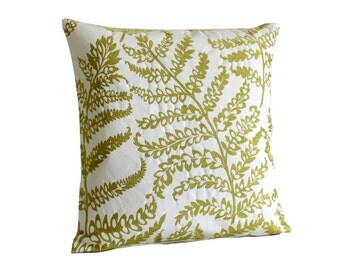 Floral Pillow Cover, Decorative Pillow Cover, Cushion Cover, 18x18 Throw Pillow, Accent Pillows, Embroidery - Tree Fern Citrus