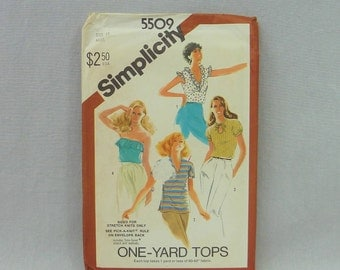 """1982 Pattern - Misses' Pullover Tops - Sized for Stretch Knits - Uncut Simplicity 5509 - Size 12 - Vintage 1980s Sewing Pattern - 34"""" b"""