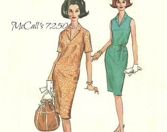 McCall's 7250 Slim Dress Pattern with Notched Collar French Darts Size 10 Bust 31 FF