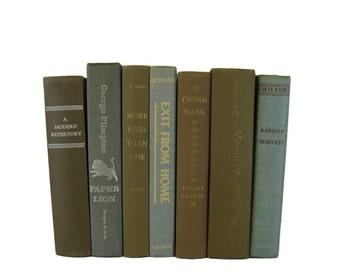 Blue Brown Decorative Books , Vintage Photo Props , Table Setting , Wedding Decor , Blue Brown Vintage Books ,   Home Decor , Old Books