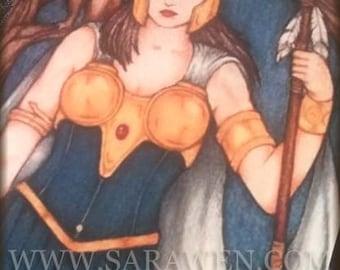 ATHENA Fantasy Greeting Card / inspired by Greek Myths / Fantasy Art /
