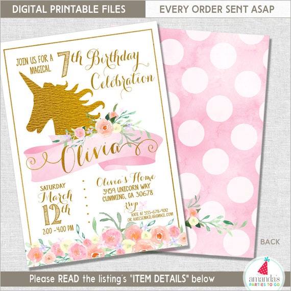 Unicorn Party Invitation Unicorn Birthday Invitation – Unicorn Birthday Party Invitations