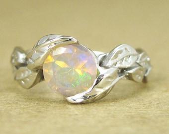 Leaf Engagement Ring, Opal Engagement Ring, White Gold Leaf Ring, Opal Leaf Ring, Leaves Ring, Forest Ring, Opal Leaves Ring, Opal Gold Ring