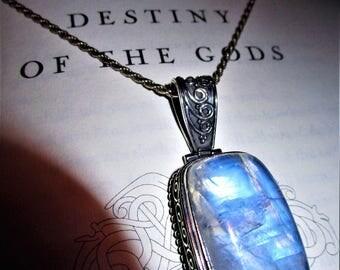 Lightning of Ragnarök - Moonstone Sterling Silver Pendant - Moon Magic, Spiritual Peace, Night Magic, Goddess Love