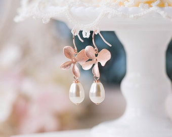 Rose Gold Orchid Flower Swarovski Cream White Teardrop Pearls Dangle Earrings Rose Gold Wedding Jewelry Bridal Earrings Bridesmaid Gift