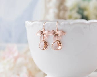 Bridesmaid Gift, Rose Gold Peach Champagne Earrings, Peach Wedding Rose Gold Wedding Earrings, Orchid Flower, Bridesmaid Earrings