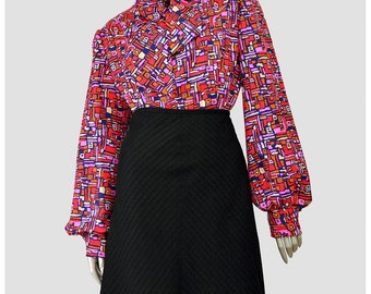 Vintage 60s Blouse • Mod Blouse • Bishop Sleeve Pussy Bow Secretary Blouse • OOAK Geometric Abstract Psychedelic Op Art Print 1960s Blouse
