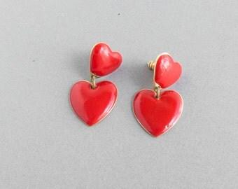 Vintage Red Dangle Heart Earrings 1980s Pierced Retro Valentine Enamel Gift for Her