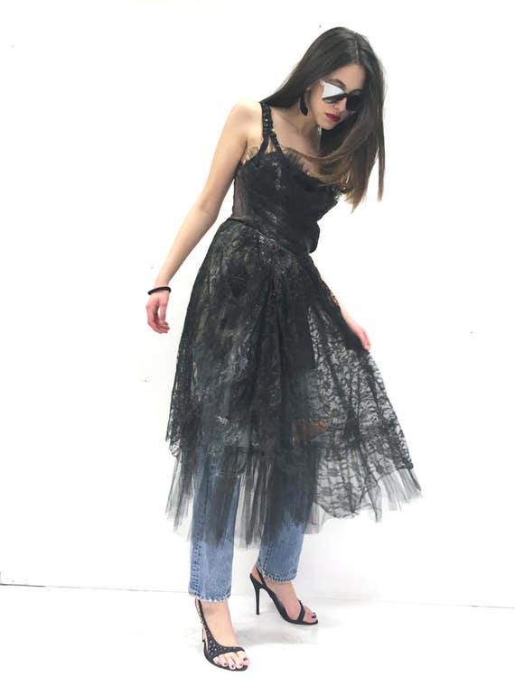 Luxury Vintage Remake Lace Black Grey Dress Lola Darling Airbrushed Hand dyed and print Leather Effect Men's undershirt with Cabochon Unique