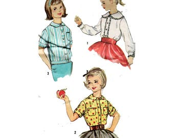 """Child's Peter Pan Collar Blouse OverBlouse Sewing Pattern 50s Vintage Size 7 Chest 25"""" (64 cm) Simplicity 3098 G"""