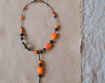 large chunky orange black beads necklace - black and orange asymmetric beaded knotted necklace - knotted cotton cord necklace - gift for her