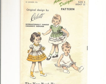 1950s Little Girls Puff Sleeve Dress Pattern, Party Dress and Slip, Size 3, Advance 5752 Designer Celeste Vintage Sewing Pattern