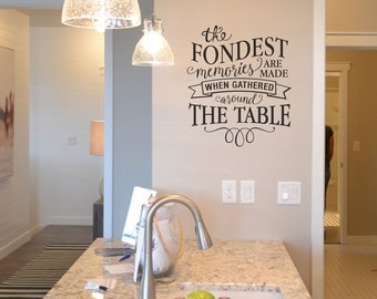 The fondest memories are made when gathered around the table KW1300 vinyl wall lettering sticker decal home decor home quote