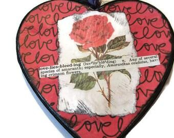 Paper Heart, Heart Ornament, Paper Mache Heart, Black Heart, Heart Collage, Dictionary Phrase, Love Lies Bleeding, Heart Love Art, Original