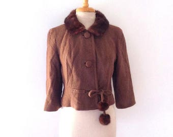 1950s cinnamon brown  lightweight wool jacket with real mink fur collar and pom pom waist tie size medium